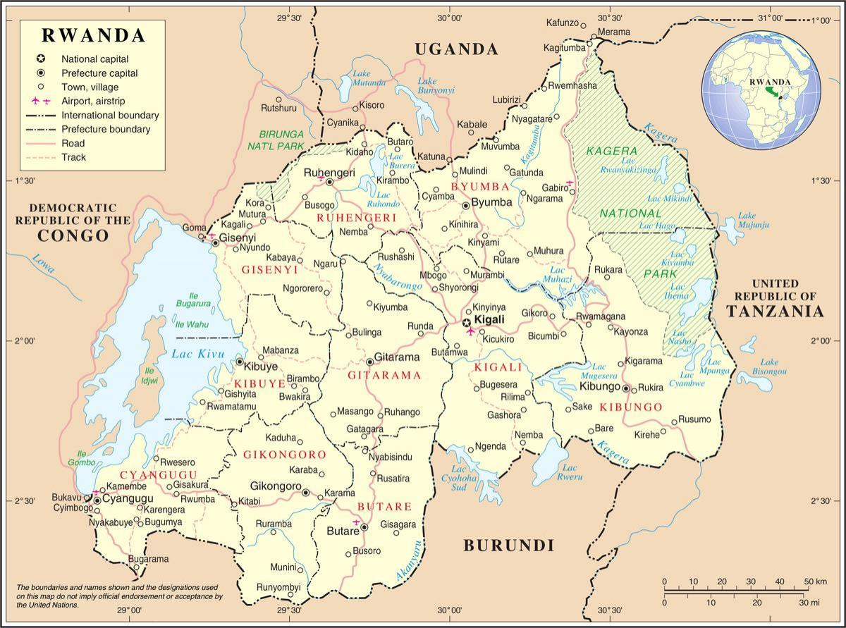 map of map Rwanda surrounding countries