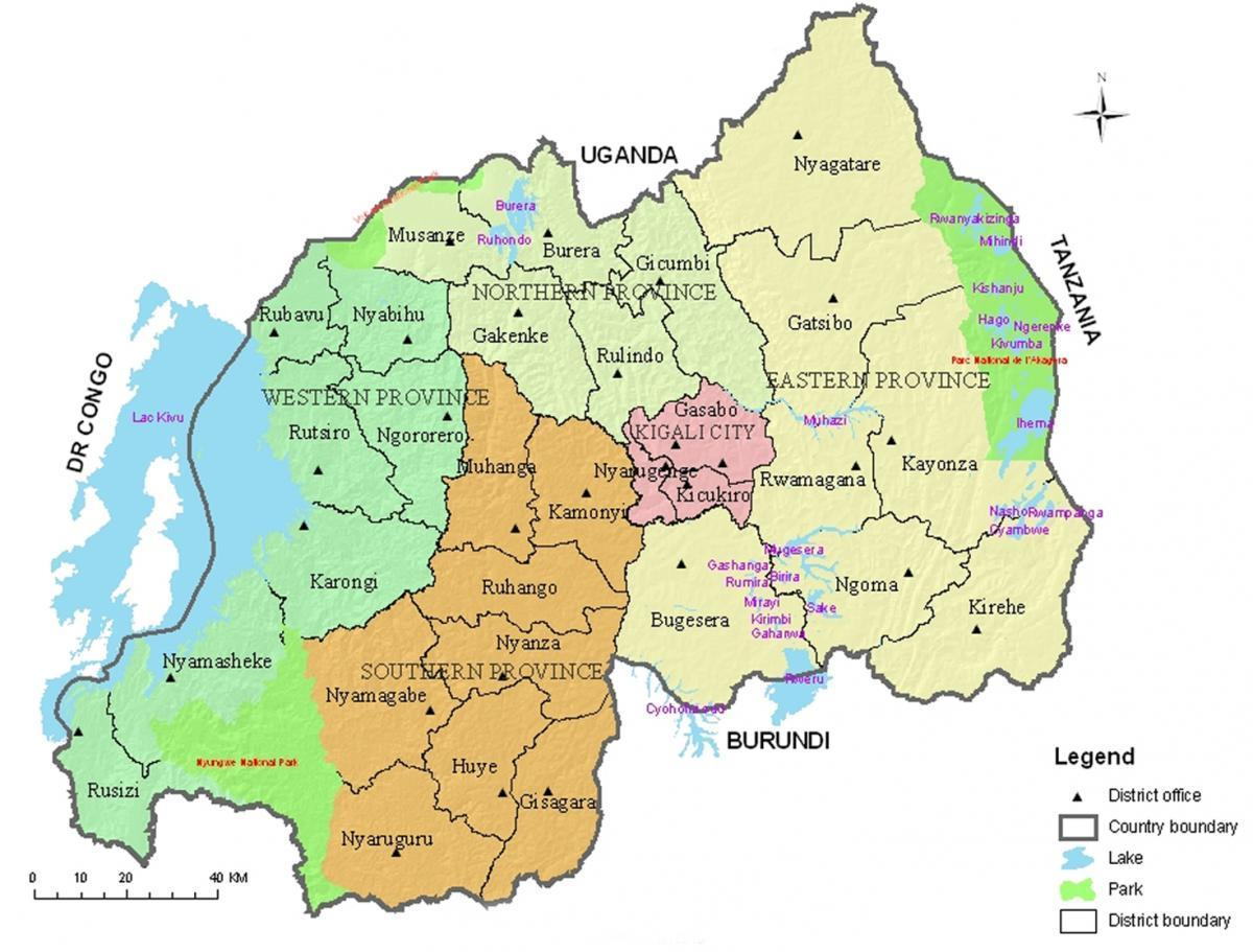 map of Rwanda with districts and sectors