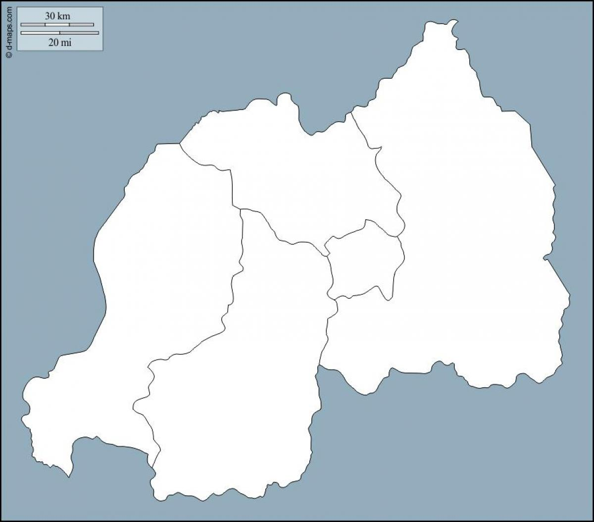 Rwanda map - Rwanda map outline (Eastern Africa - Africa)